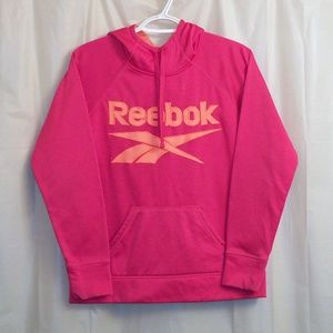 Reebok Pullover Hoodie Spell Out Pink Small